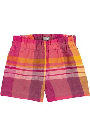 Il gufo Checked linen shorts