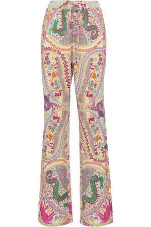 Etro Women Wide Leg Pants - Printed wide-leg cotton-blend pants