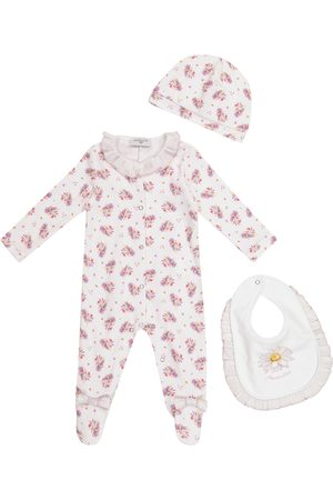 MONNALISA Exclusive to Mytheresa – Baby floral cotton onesie, hat and bib set