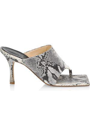 A.W.A.K.E. MODE Women's Snakeskin-Print Leather Thong Sandals - Grey Snake - Size 6