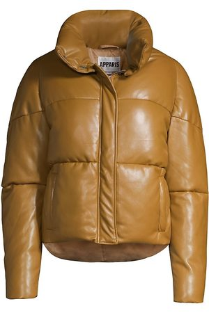 Apparis Women's Jemma Leather-Look Puffer Jacket - Camel - Size Small