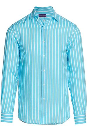 Ralph Lauren Men's Aston Pinstripe Linen Shirt - Turquiose - Size XXL