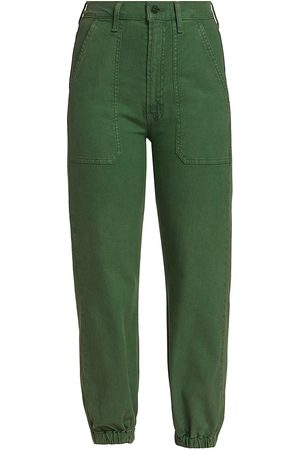 Mother Women's The Wrapper Patch Springy Ankle Cargo Pants - Army - Size Denim: 31