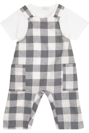Il gufo Baby checked overalls and T-shirt set