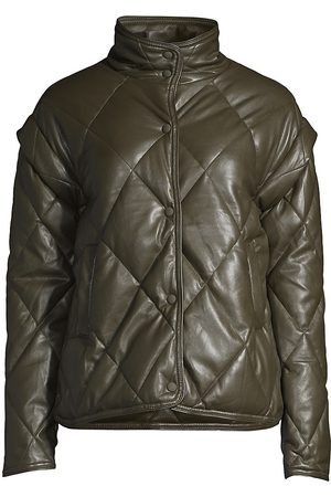 Apparis Women's Liliane Leather-Look Puffer Jacket - Army - Size XL