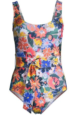 Shoshanna Women's Floral Belted One-Piece Swimsuit - Revel - Size 8