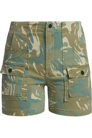 Mother Women's The Rambler Patch Pocket Shorts - Tropical Camo - Size Denim: 30