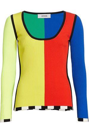 Christopher John Rogers Women's Colorblock Rib-Knit Sweater - Rainbow Multi - Size Small