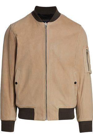 Rag & Bone Men's Manston Suede Bomber Jacket - Light Khaki - Size Medium