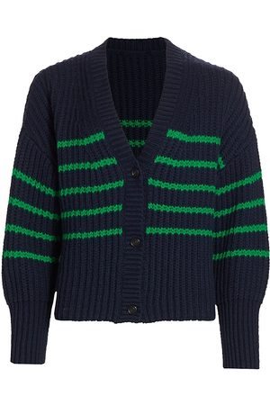 Munthe Women's Tupper Striped Cabled Cardigan - Indigo - Size 8