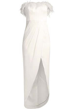 Aidan by Aidan Mattox Women's Feather Trim Strapless High-Low Gown - Ivory - Size 12