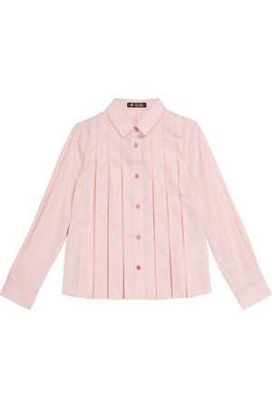 Loro Piana Ambre pleated cotton and silk blouse