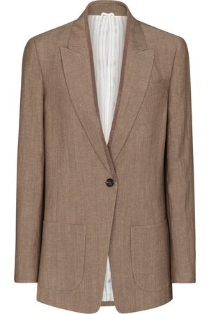 Brunello Cucinelli Embellished wool and linen blazer