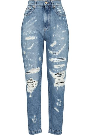 Dolce & Gabbana High-rise distressed slim jeans