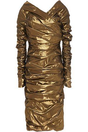 Dolce & Gabbana Women Strapless Dresses - Woman Off-the-shoulder Ruched Lamé Dress Bronze Size 38