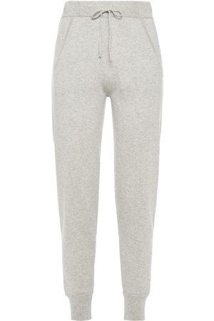 N.PEAL Woman Mélange Cashmere Track Pants Stone Size M