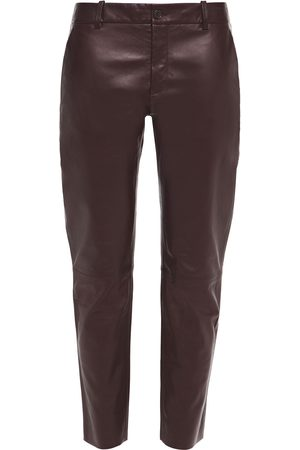 NILI LOTAN Woman East Hampton Cropped Leather Slim-leg Pants Merlot Size 0