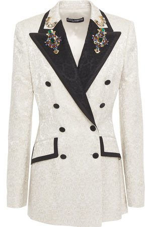 Dolce & Gabbana Women Blazers - Woman Crystal-embellished Floral-jacquard Blazer Ecru Size 40