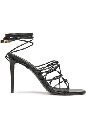 BALMAIN Woman Mikki Lace-up Knotted Leather Sandals Size 36