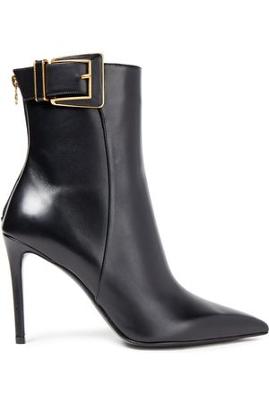 BALMAIN Woman Buckled Leather Ankle Boots Size 40
