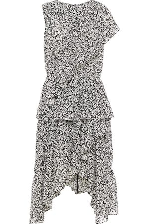 GOEN.J Woman Asymmetric Ruffled Floral-print Jacquard Dress Size L