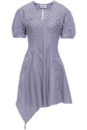Each x Other Woman Asymmetric Pleated Striped Cotton-poplin Mini Dress Navy Size L