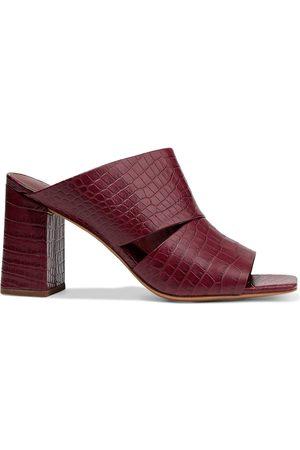 Vince Woman Nelda Croc-effect Leather Mules Brick Size 10