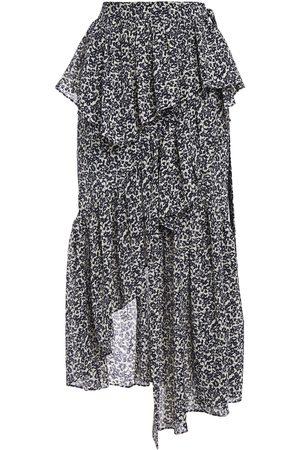GOEN.J Woman Asymmetric Ruffled Floral-jacquard Skirt Navy Size L