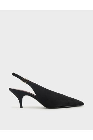 CHARLES & KEITH Textured Pointed Toe Slingback Court Shoes