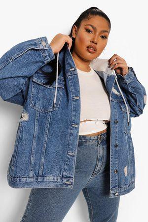 Boohoo Womens Plus Loopback Hooded Denim Distressed Jacket - - 12