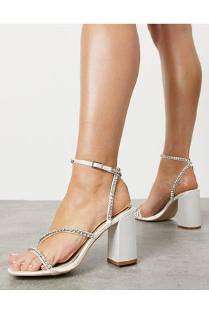 Be Mine Bridal Million embellished heeled sandal in ivory satin