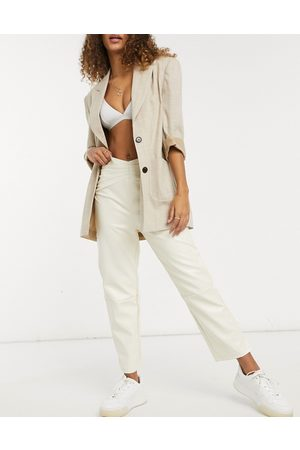 Fashion Union Straight leg pants with waist seam detail in faux leather