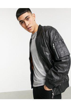 ASOS Oversized leather bomber jacket in