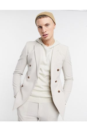 ASOS Super skinny double breasted suit jacket in stone