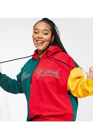 PUBLIC Contrast motif oversized hoodie sweat dress in multi