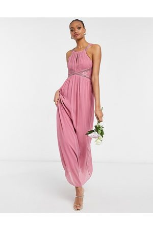 Little Mistress Bridesmaid chiffon maxi dress with embellishment and lace detail in dusky
