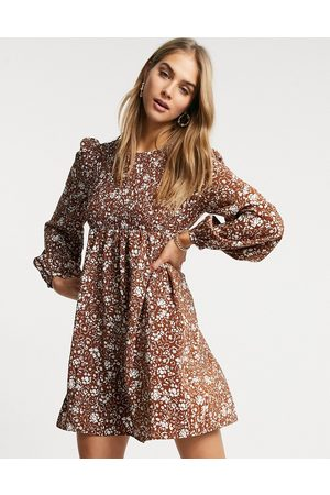 Fashion Union Mini smock dress with shirring in vintage floral