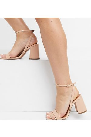 ASOS Wide Fit Hudson barely there block heeled sandals in -Neutral