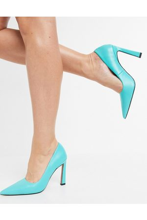 ASOS Phoebe leather pointed high heeled pumps in aqua-Blues