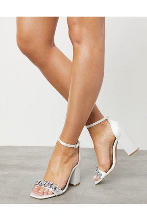 London Rebel Embellished bridal block heel sandal in ivory