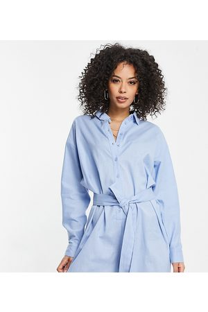 ASOS ASOS DESIGN tall belted beach shirt romper in blue