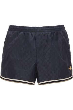 Gucci Gg Nylon Swim Short W/bee Patch