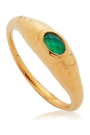 Monica Vinader Women Rings - Gold Deia Gemstone Ring Green Onyx
