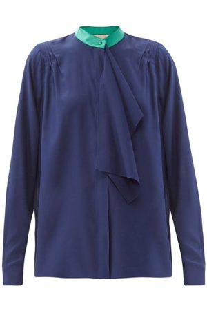 Roksanda Rubis Contrast-collar Silk Blouse - Womens - Navy Multi