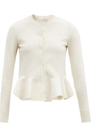 Alexander McQueen Women Cardigans - Peplum-hem Stretch-knit Cardigan - Womens - Ivory