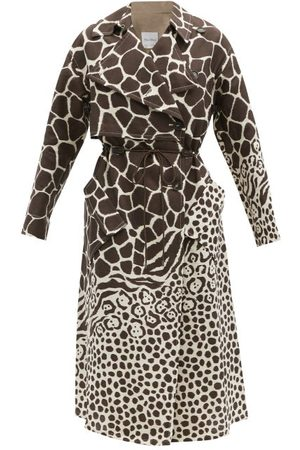 Salvatore Ferragamo Drawcord Giraffe-print Linen Trench Coat - Womens - Animal