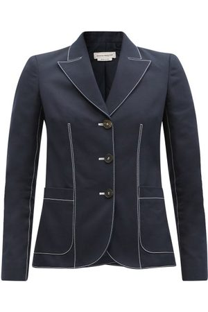 Alexander McQueen Contrast-stitch Single-breasted Cotton Jacket - Womens - Navy