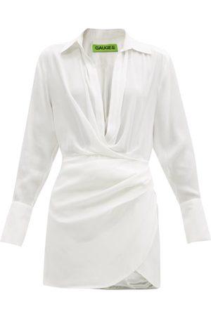 GAUGE81 Naha Draped Silk Mini Dress - Womens - Ivory