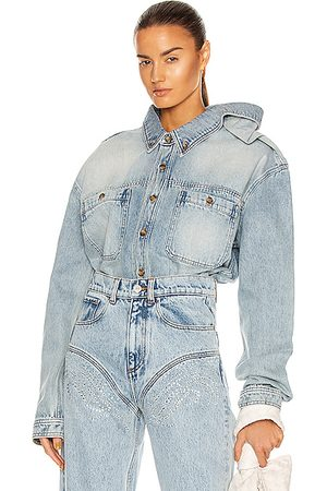 Y / PROJECT Women Denim - Clip Shoulder Denim Shirt in Denim-Light