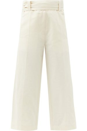 Moncler 1952 - High-rise Cropped Cotton-blend Wide-leg Trousers - Womens